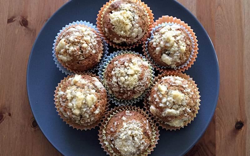 Muffinki zbananami igorzką czekoladą