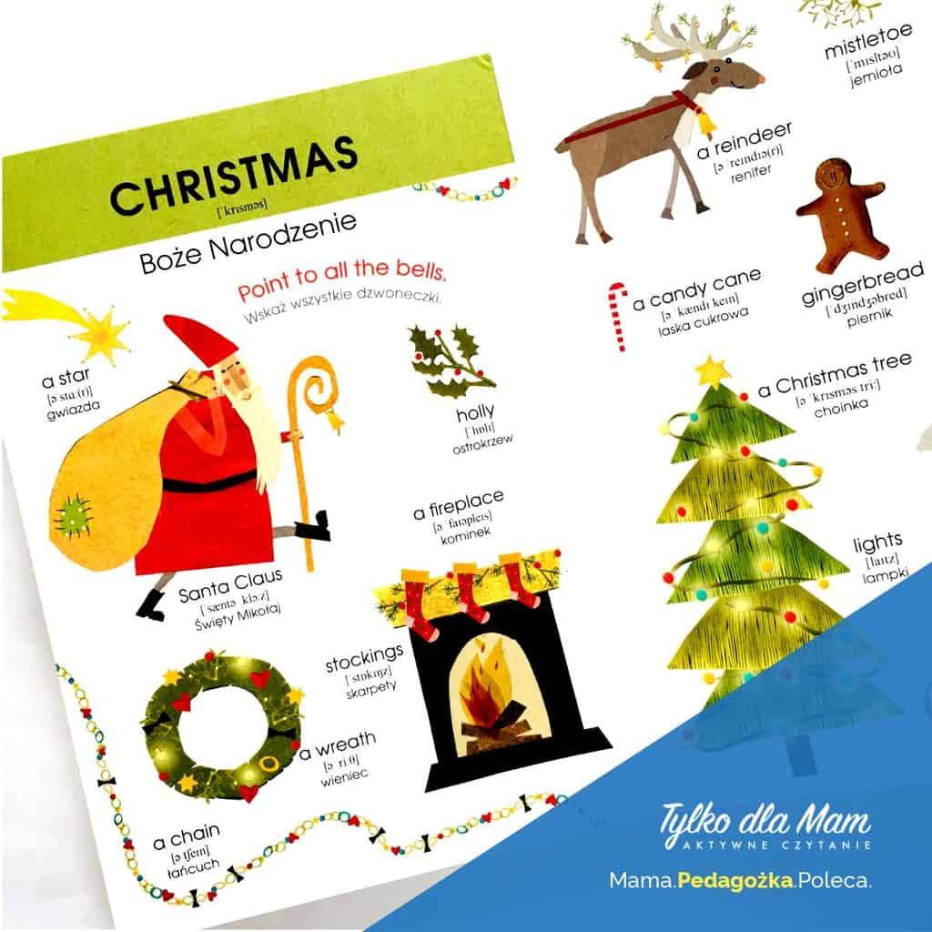 Angielski Słówko posłówku ksiązka dla 2 latka Boże Narodzenie Mikołaj