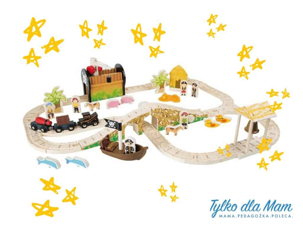 Drewniana kolejka piracka zabawka dla 3 latka