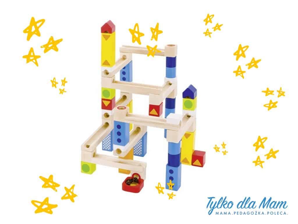 Kolorowy kulodrom, zbuduj sam tor dla kulek, 55 części zabawka dla 5 latka