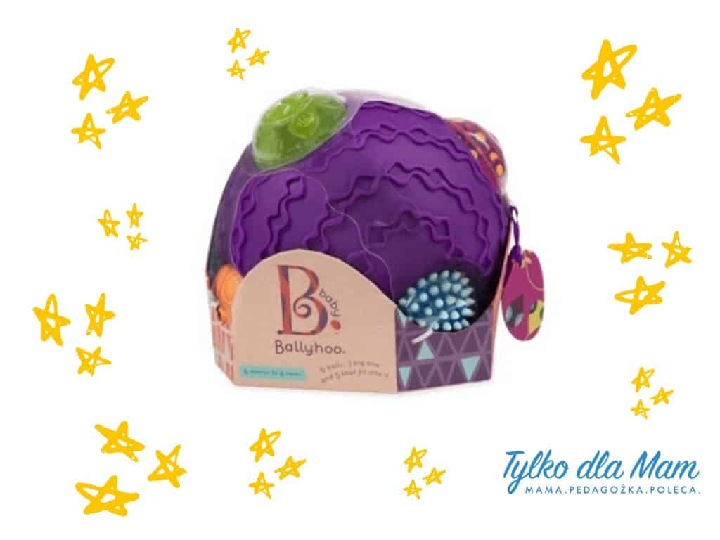 Sensoryczna kula zpiłkami Ballyhoo fioletowa zabawki napierwsze miesiące