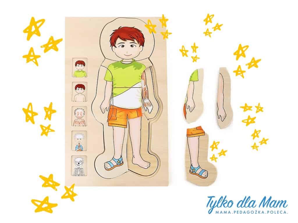 puzzle ciało drewniane zabawka dla 3 latka