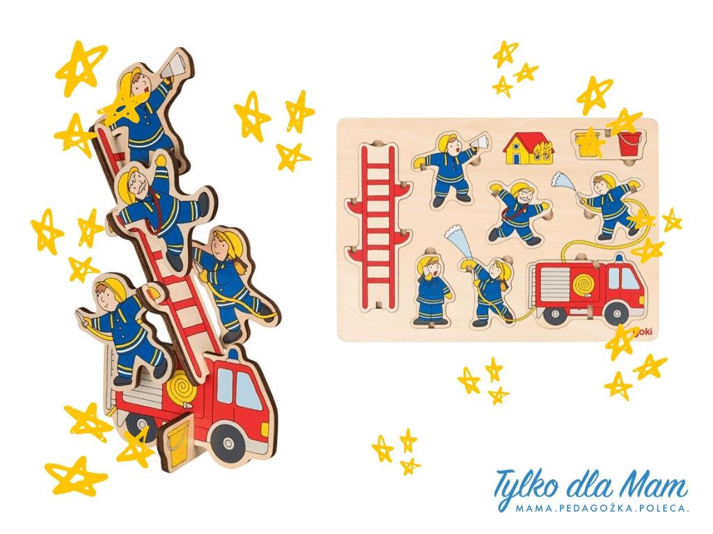 Układanka przestrzenna dla dzieci Figle strażaków zabawka dla 3 latka gra