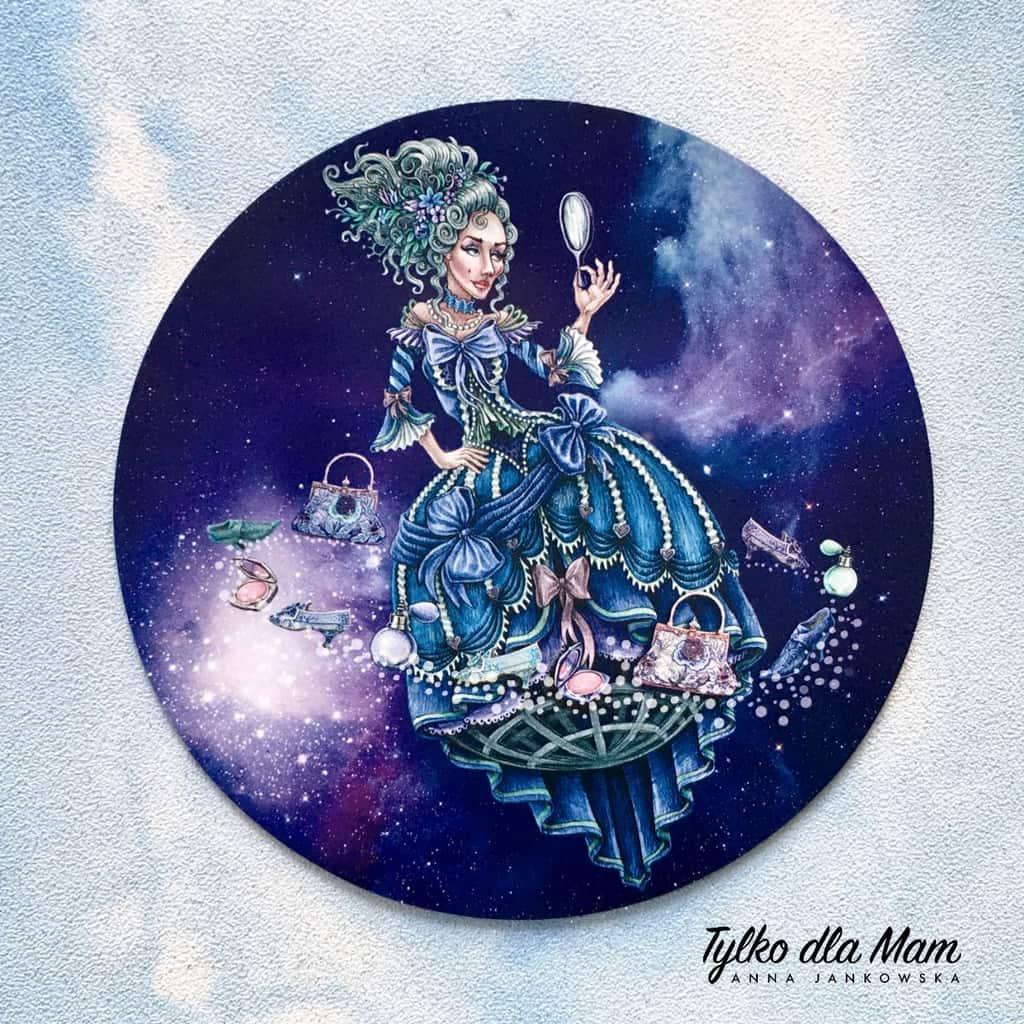 kobieta noc lusterko planeta kosmos gra dla dzieci