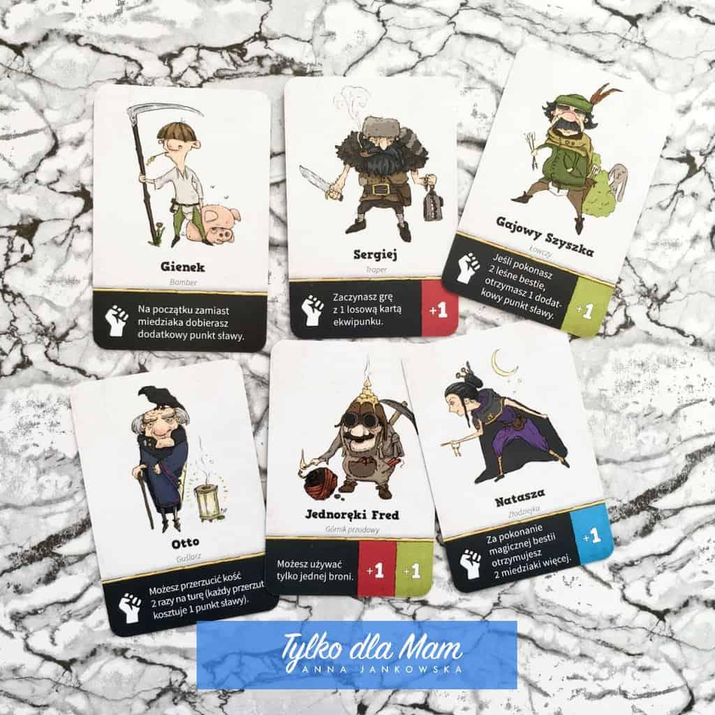 postacie gra dla dzieci karty