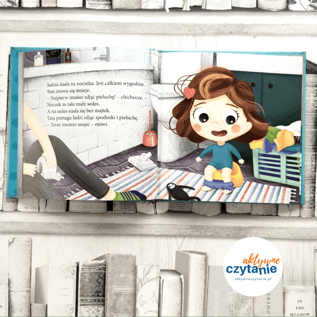 Jadzia Pętelka robi siku ksiązki dla dzieci aktywne czytanie